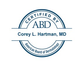 American Board of Dermatology Certified Seal for Dr. Corey Hartman