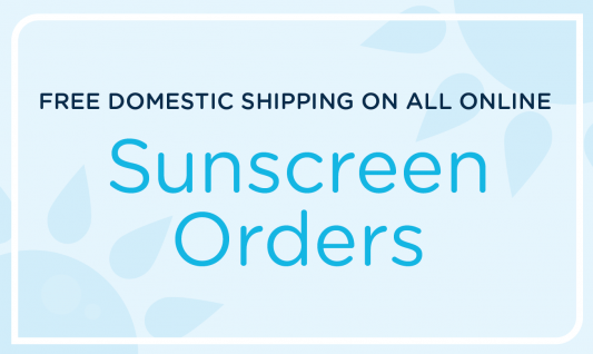 Free domestic shipping on all sunscreen orders